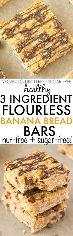 Healthy 3 Ingredient FLOURLESS Banana Bread Bars- Thick, chewy and tasting JUST like banana bread, they are tender on the outside and slightly gooey and soft on the inside- Made with NO butter, flour, oil, sugar or dairy! A quick, easy, nut-free and delicious three ingredient snack, dessert or breakfast! {vegan, gluten free, sugar free recipe}- http://thebigmansworld.com