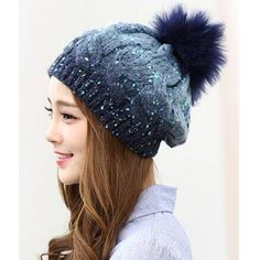 Navy blue dip dye bobble hat for women winter cable knit hat with pom pom 73672d929d9d