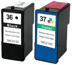 36 / & 37 / Compatible Black & Colour Ink Cartridge Pack for Lexmark Printers 18C2130 18C2140 - These professionally remanufactured ink Cartridges have been produced using recycled original cartridges. Every Cartridge is cleaned thoroughly, refilled, and print tested to ensure you achieve a high standard of print, time after time. Please see Merchant specific condition notes for additional... - http://ink-cartridges-ireland.com/36-37-compatible-black-colour-ink-cartridge-pack