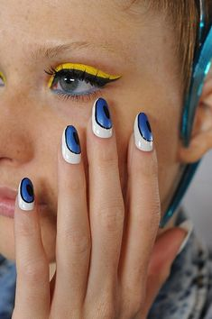 Blue, black, white nails