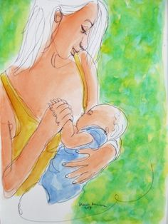 """Buy """"1 Line - Holding my baby's hand"""". 1 Line drawing of a young mom watching her loved baby while nursing. Breastfeeding, among many other things, facilitates bonding between mother and baby. #breastfeeding #amamantar #stillen #mother #madre #baby #bebe #attachmentparenting #crianzaconapego #lactancia #lactation #drawing  #dibujo #1linedrawing #watercolor #acuarela #bonding #apego"""