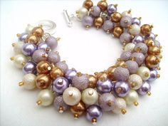 Pearl Beaded Bracelet Lavendar and Gold Cluster by KIMMSMITH