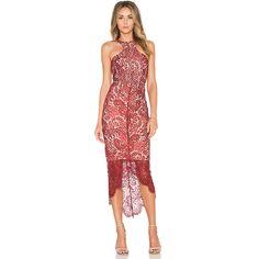 Elle Zeitoune Sage Dress Dresses ($217) ❤ liked on Polyvore featuring dresses, lacy dress, scalloped dress, asymmetrical hem dress, lacy red dress and scalloped hem dress