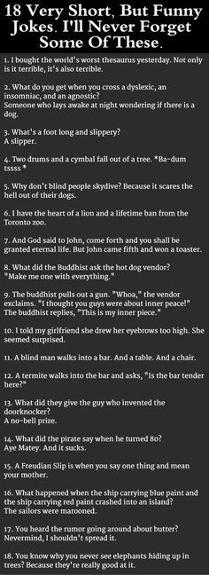 18 Very Short, But Funny Jokes. I'll Never Forget Some Of These...