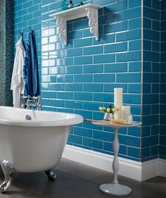 Blue Tile Bathroom blue subway tile with white, modern family bathroomsuzy