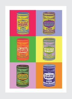 """Plakat Pop Art do kuchni to zabawa konwencją pop artu. Zupa Campbell zyskała w Polsce swój odpowiednik w postaci ikony tradycyjnych polskich potraw konserwowych. """"Flaczki wołowe"""" ..."""