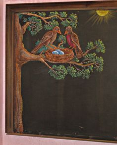 Waldorf ~ 1st grade ~ Natural Science ~ Spring Scene - Mr. & Mrs. Robin watch over their future family. ~ chalkboard drawing