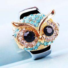 Owl  Fashion Stretch Elastic watch Mini Quartz Watch Finger Ring watch band Random clolors $5.99