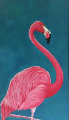 Flamingo Acrylic Painting Pink Flamingo by MulberryInkVintage