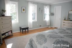 Wide view of master bedroom with new DIY crown molding by a novice!