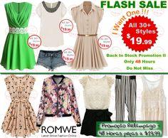 Super slim price flash sale! Only 48 hours! Hot items back season! Only $19.99! Don't miss, girls!  Promoção Relâmpago - 48 Horas peças à $19.99 #Romwe