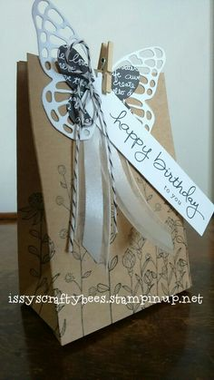 Gift bag stamped with Stampin Up Flowering Fields. Free Sale a Bration stamp set 2016