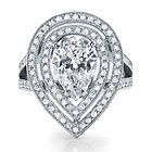 2.38ct GIA Vintage Pear Diamond Engagement Ring D/IF