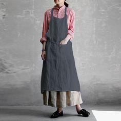 S-5XL Women Retro Solid Cotton Oversized Pinafore Vintage Apron Long Shirt Dress