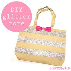#DIY Glitter Tote Bag w/ Bow
