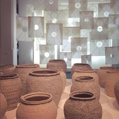 A great display of traditional Korean mulberry paper and woven baskets by #LeeYoungSoon. #LDF15 #tentlondon