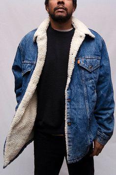 Men's Vintage Levi's Denim Jacket with Shearling Lining