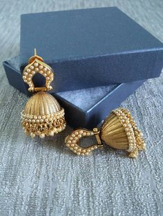 Antique gold polish Bollywood Jhumka ethnic by JashnBoutique