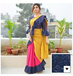 Ruffle Saree Style is the Hottest Trend of this Season Saree Draping Styles, Saree Styles, Fancy Blouse Designs, Saree Blouse Designs, Indian Dresses, Indian Outfits, Sari Design, Saree Dress, Sari Blouse
