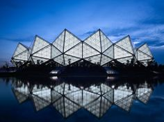 GD-lighting design looks to ancient greece in shenzhen sports center Ancient Greek Architecture, Amazing Architecture, Interior Architecture, Stadium Architecture, Architecture Geometric, Historic Architecture, Facade Lighting, Lighting Design, Zaha Hadid
