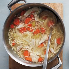 "There's nothing more gratifying than a bowl of chicken soup. This recipe comes from Martha's latest book ""One Pot: 120+ Easy Meals from Your Skillet, Slow Cooker, Stockpot, and More."""