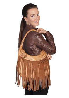 Ladies Soft Leather Fringe Handbag in Brown  $132.53 : The Nevada City Traders