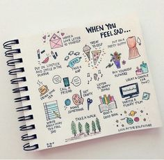 Better Drawing How to Bujo Your Way Out of a Bad Day! The classic 'When You're Sad' and more bullet journal inspiration to help you feel better. Bullet Journal Tumblr, Bullet Journal Ideas Pages, Bullet Journal Inspiration, Journal Pages, Bullet Journals, Art Journals, Bullet Journal Anxiety, Bullet Journal For Kids, Bullet Journal Mental Health