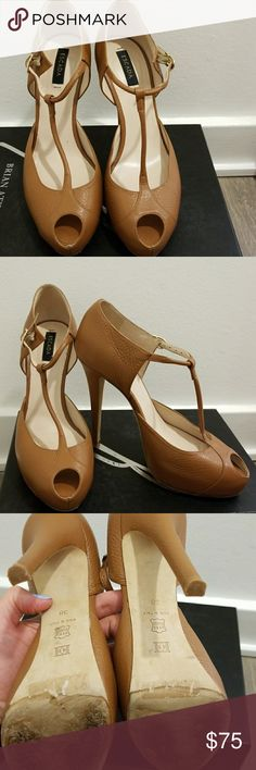 T-Strap peep toe Escada tan heels Such beautiful shoes that are versatile and comfortable. Authentic and beautifully made with minimal wear. Would love them to go to a good home! Escada Shoes Heels