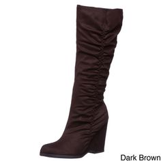 @Overstock - Look your best with these knee-high suede boots. These stylish boots feature a wedge heel, rounded toe design, and an inside zipper. Colors to choose from are black, brown, or gray. Consider all three to match every outfit in your wardrobe.http://www.overstock.com/Clothing-Shoes/MIA-Womens-Biscuit-Tall-Wedge-Boots/3985433/product.html?CID=214117 $26.34