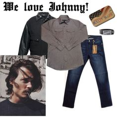"""Johnny Depp"" by bulletblues on Polyvore Made in USA www.bulletbluesca,com #jeans #Americanmade"