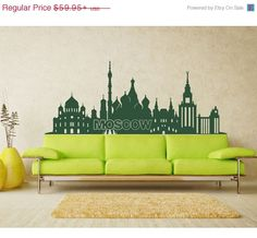Cyber Monday Sale -- Moscow Skyline wall decal, sticker, mural, vinyl wall art