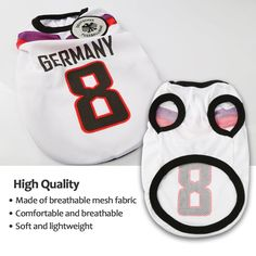 Dog Clothes Football TShirt Dogs Costume National Soccer World Cup FIFA Jersey for Pet Germany M White * Discover more concerning the terrific product at the photo link. (This is an affiliate link). Fifa Games, Soccer World, Mesh Fabric, World Cup, Baby Shoes, Germany, Football, Photo Link, American Football
