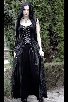 Arnela Pretty Black Lace and Velvet Long Gothic Dress