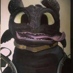 Toothless acrylic painting