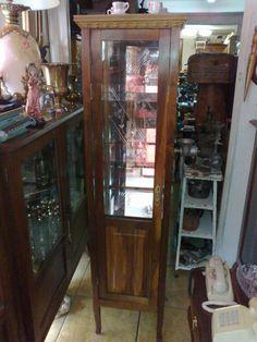 (only Wood) Cristaleira Coluna Antiga Vidro Bizote Desenho - R$ 1.800,00 no MercadoLivre