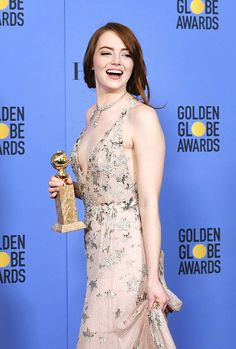 Emma Stone, winner of the Best Performance by an Actress in a Motion Picture - Comedy or Musical for 'La La Land', poses in the press room at the 74th Annual Golden Globe Awards held at the Beverly Hilton Hotel on January 8, 2017.