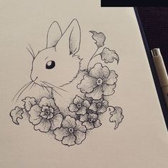 Trendy Ideas For Flowers Drawing Outline Inspiration Bunny Tattoos, Rabbit Tattoos, Flower Tattoos, Outline Drawings, Art Drawings Sketches, Easy Drawings, Animal Sketches, Animal Drawings, Plant Drawing