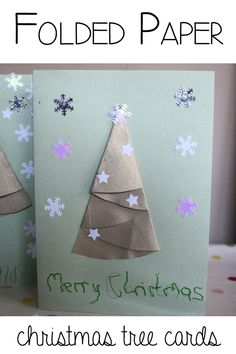 Easy to make folded Christmas Tree Cards, ideal for kids and adults to make