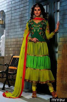 Gorgeous latest pattern frock style salwar kameez