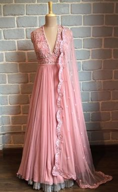 blush pink indo-western, with lace detailed bodice, and organza skirt with net dupatta with detailing Lehenga Designs, Saree Blouse Designs, Indian Wedding Outfits, Indian Outfits, Trendy Dresses, Fashion Dresses, Stitching Dresses, Anarkali Dress, Anarkali Suits