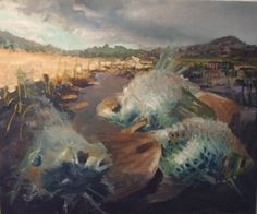 """""""Wild West"""" Cathy Yrizarry 30"""" x 36"""" Oil #art #artwork #artist #creative #decoration #fineart #oil #oilpainting #oiloncanvas #brazier gallery #painting #paint #painter #cathyyrizarry #wildwest #western #west #country #fish #goldfish"""