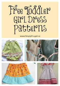 Here's a round up of some great Free Toddler Girl Dress Patterns! Enjoy! Wrap Dress Pattern ~ via Tiny Happy Wrap Skirt ~ via Big Red Couch T-Shirt Dress ~ via Love To Sew Easy Skirt Tutorial ~ via Two Little Banshees Jumper Dress ~via Craftster Tea...