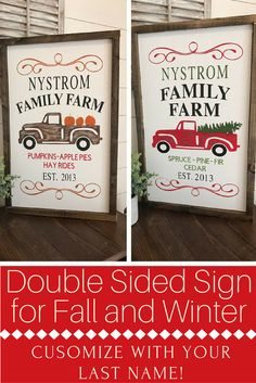 Get the Farmhouse Fixer Upper look with this double sided wood sign for fall and winter! Pumpkin Patch Sign- Christmas Tree Farm Sign- Custom Last Name Sign- Double Sided Sign-Fall Decor- Fall Wood Signs- Christmas Decor-Christmas - Thanksgiving