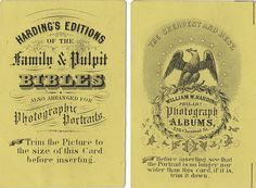 Two Sides of an Advertising Card for Harding Bibles and Albums by Photo_History, via Flickr