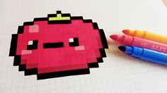 Handmade Pixel Art - How To Draw Kawaii Tomatoe #pixelart