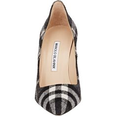 Manolo Blahnik Plaid BB Pumps (965 AUD) ❤ liked on Polyvore featuring shoes, pumps, pointy toe high heel pumps, slipon shoes, plaid pumps, manolo blahnik and tartan shoes