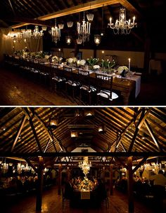 in the lower picture, I like how they lit the ceiling with uplights....if we did that might not need strand lights and then do some kind of more prominent hanging lights.