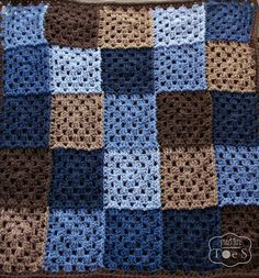 Crochet Baby Blanket Blue and Brown Granny Square by puddintoes