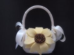 Flower Girl Basket Wedding Ivory Yellow Brown sunflower choose your colors by ArtisanFeltStudio, $27.00