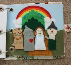 Wizard of Oz finger puppets...fun idea to make a themed page for favorite movies.